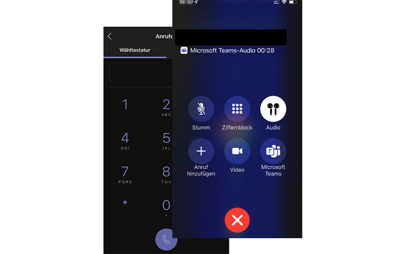 Microsoft Teams Audiogespräch
