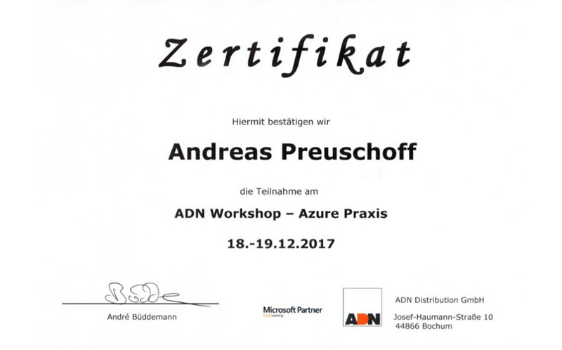 Andreas Preuschoff Zertifikat