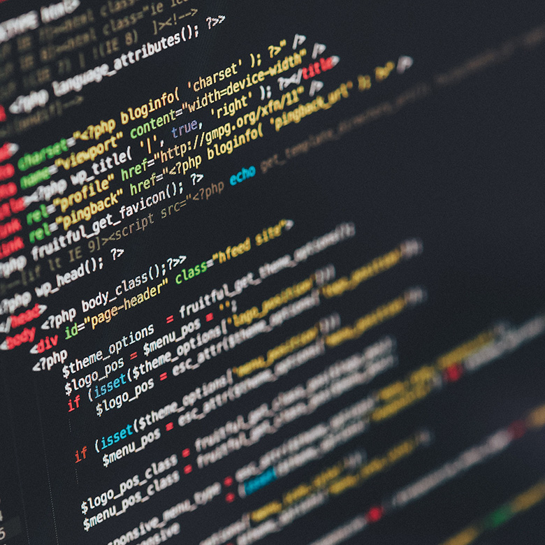 Codezeile auf Bildschirm.
